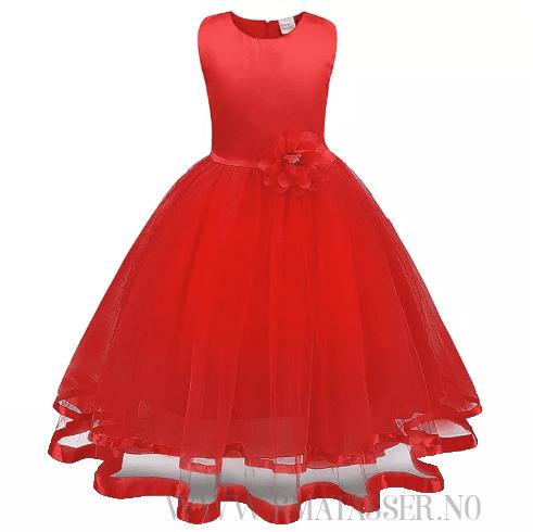 Penkjole - Blomsterpikekjole - Rød