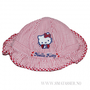 Hello Kitty solhatt - rødstripet