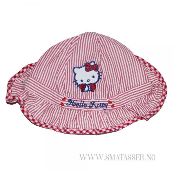 Hello Kitty solhatt - rødstripet