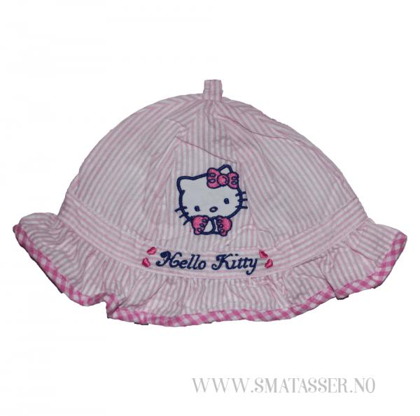 Hello Kitty solhatt - rosastripet