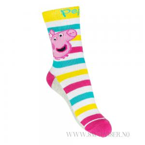 Peppa Gris sokker - Striper/rosa hæl