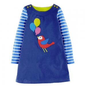 Kjole med fargerik fugl og ballonger, A-modell