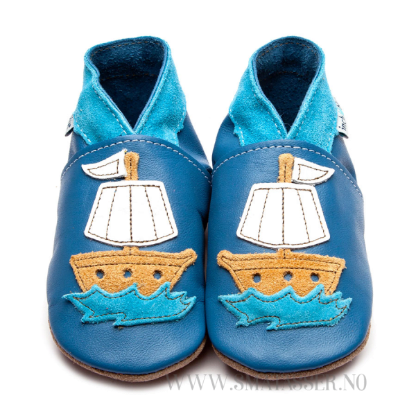 Inch Blue skinntøfler - Piratskip