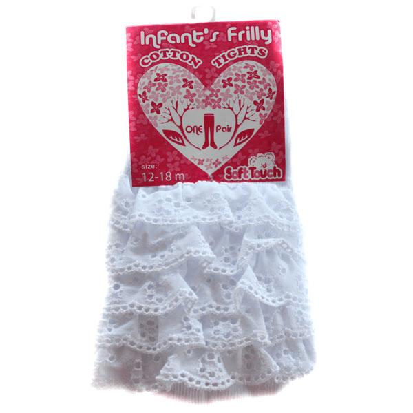 Strømpebukser med blonder, hvit