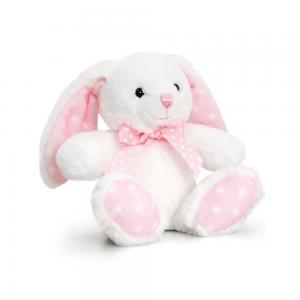 Kanin, 15 cm, hvit/rosa prikker