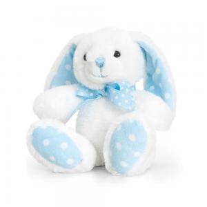 Kanin, 15 cm, hvit/blå prikker