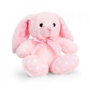 Kanin, 15 cm, rosa/hvite prikker