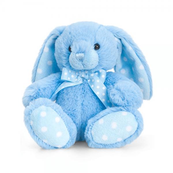 Kanin, 15 cm, blå/hvite prikker