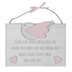 Petit Ch##ri hengende skilt - What little girls are made of...