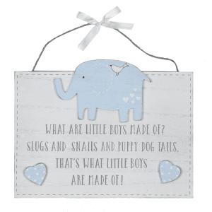 Petit Ch##ri hengende skilt - What little boys are made of...