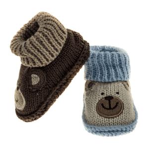 Strikket baby sokkesko, brun