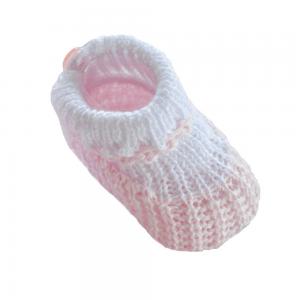 Strikket baby sokkesko, rosa/hvit