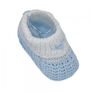 Strikket baby sokkesko, blå/hvit