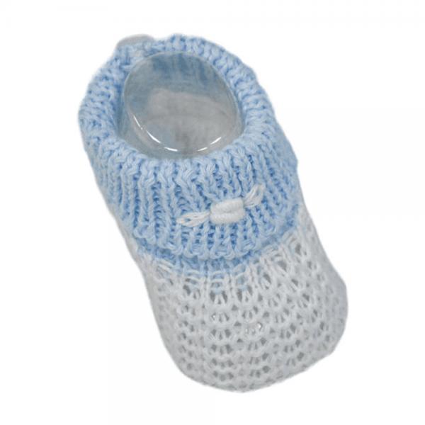 Strikket baby sokkesko, hvit/blå