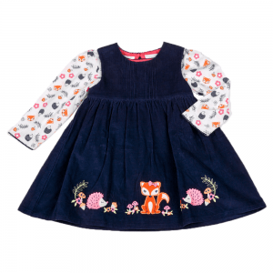 Kjole med bluse/topp, blå med skogsdyr