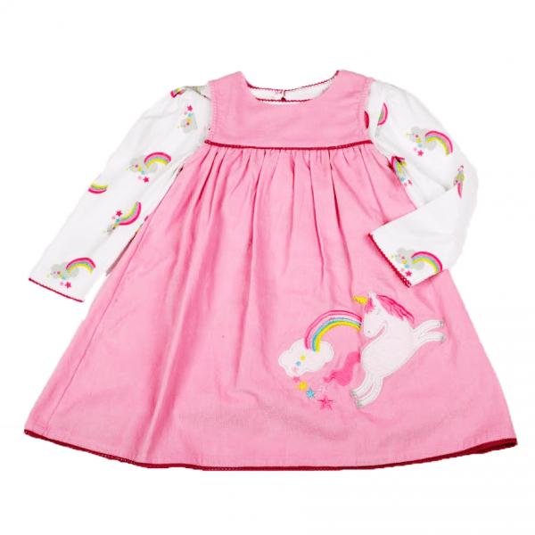Kjole med bluse/topp, rosa med enhjørning