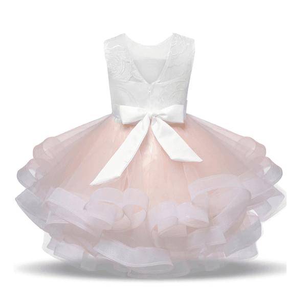 Brudepikekjole med brodert topp og vidt skjørt, rosa