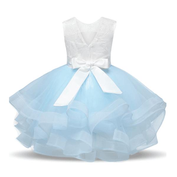 Brudepikekjole med brodert topp og vidt skjørt, blå