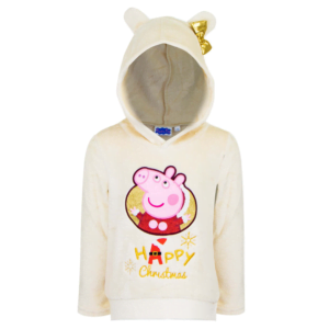 Peppa Gris hettegenser Happy Christmas hvit