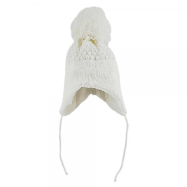 Strikkelue med snorer og fleeceinnside hvit