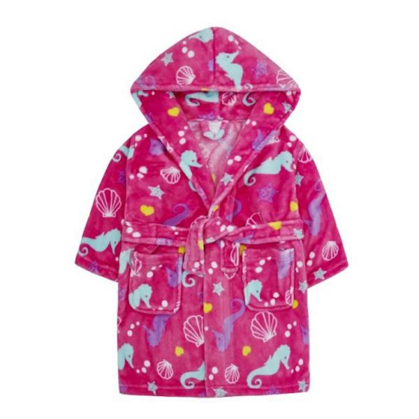 Badekåpe barn sjøhester rosa