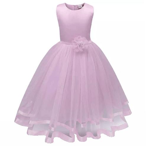 Penkjole - Blomsterpikekjole - Lys rosa